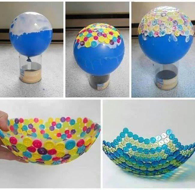 Düğmelerden Dekoratif Kase Yapımı