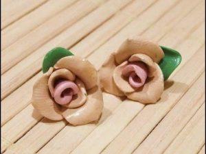 Fimo Hamuru Çiçekli Küpe