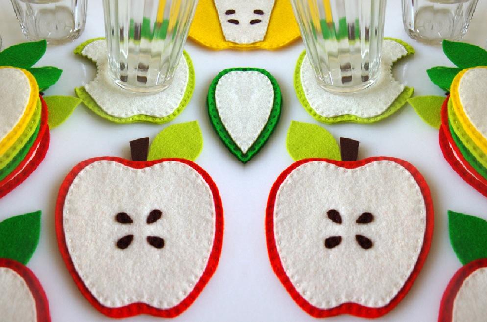 Keçeden Elmalı Bardak Altlığı