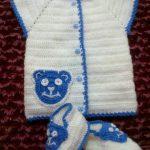 Beyaz Ayıcıklı Erkek Bebek Yeleği