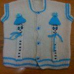 Beyaz Mavi Erkek Bebek Yeleği