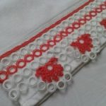 Kırmızı Beyaz Halkalı Havlu Kenarı