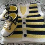 Sarı Lacivert Erkek Bebek Yeleği