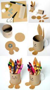 Tuvalet Kağıdı Rulosundan Tavşanlı Kalemlik Yapımı