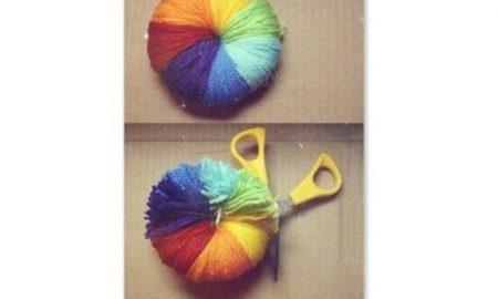 Renkli İplerden Ponpon Yapımı