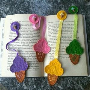 Keçeden Dondurmalı Kitap Ayracı