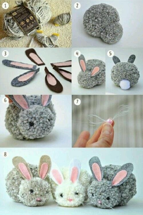 Çocuklar için Yünden Tavşan Yapımı