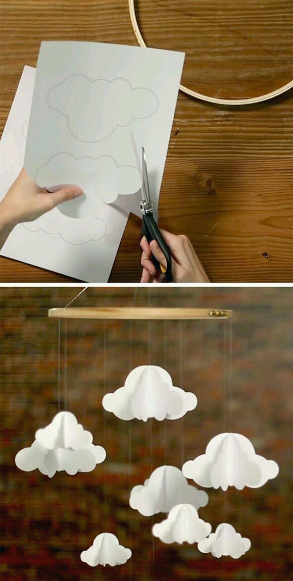 Kağıttan Sarkaçlı Bulut Süs Yapımı