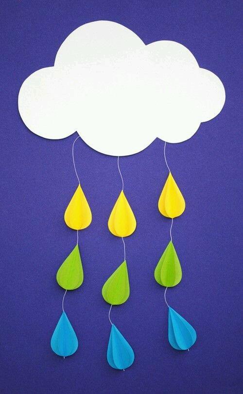 El İşi Kağıdından Bulut ve Yağmur Yapımı