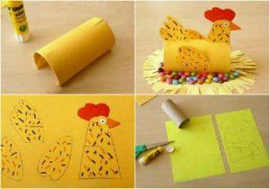Tuvalet Kağıdı Rulosundan Tavuk Yapımı Resimli Anlatım