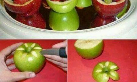 Elma Çanağında Meyve Salatası Yapımı