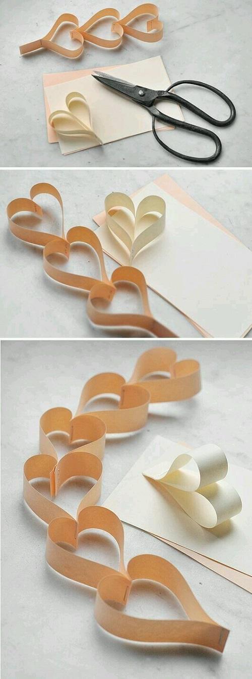 Kağıttan Kalpli Uzun Süs Yapımı