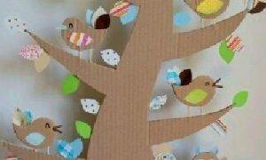 Kartondan Ağaç ve Kuş Yapımı