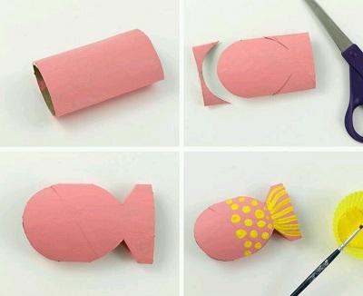 Tuvalet Kağıdı Rulosundan Balık Yapımı Resimli Anlatım