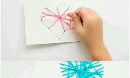 İple Kartona Kalp Yapımı