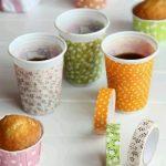 Kağıt Bardağı Desenli Bant ile Süsleme