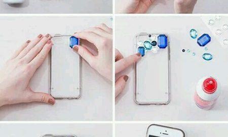 Parlak Taşlarla Telefon Kapağı Süslemesi