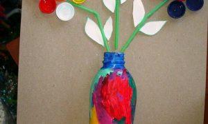Pet Şişe ve Kapaklardan Vazo Yapımı