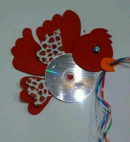 Cd ve Eva Kağıdı ile Kuş Yapımı