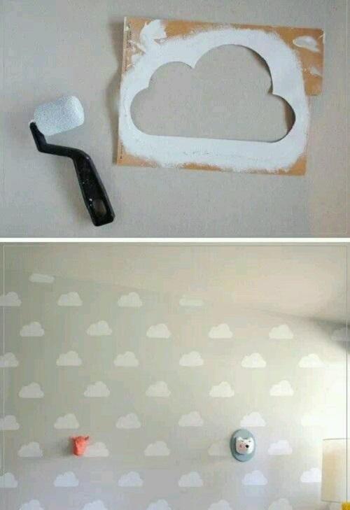 Duvara Bulut Deseni Yapımı