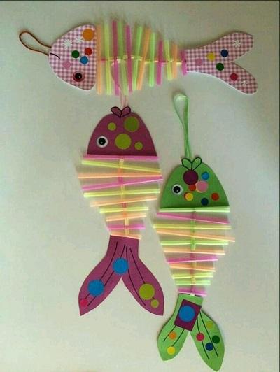 Renkli Pipetlerle Balık Yapımı-2