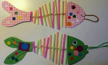 Renkli Pipetlerle Balık Yapımı