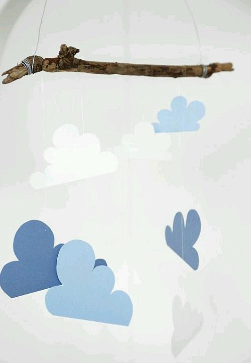 Çocuk Odası için Kolay Bulutlu Süs Yapımı