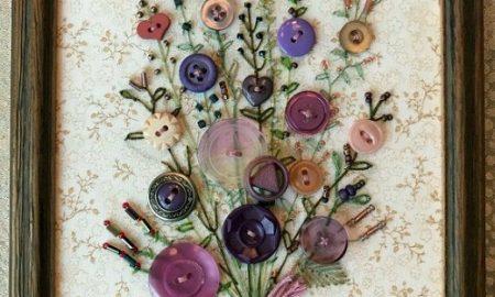 Düğmeden Çiçekli Tablo Yapımı