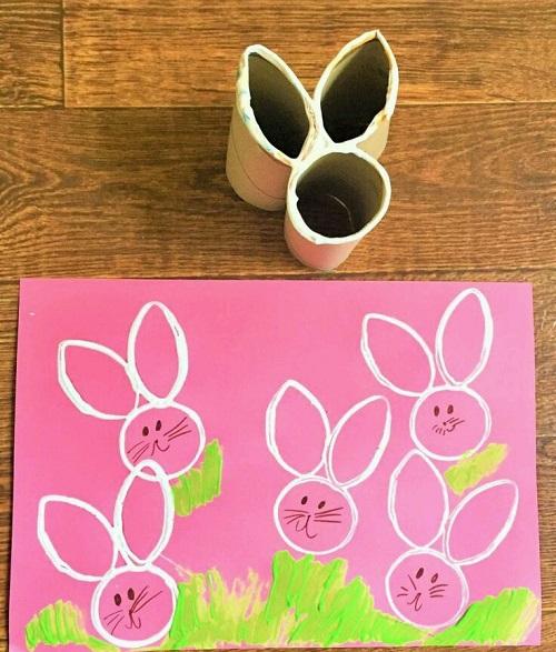 Tuvalet Kağıdı Rulosu ile Tavşanlı Baskı Yapımı