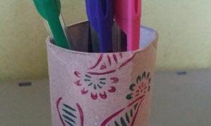 Tuvalet Kağıdı Rulosundan Çiçek Baskılı Kalemlik Yapımı
