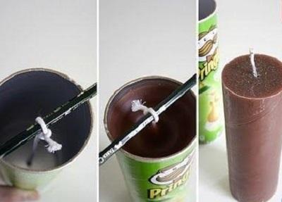 Pringles Kutusu ile Mum Yapımı Resimli Anlatım