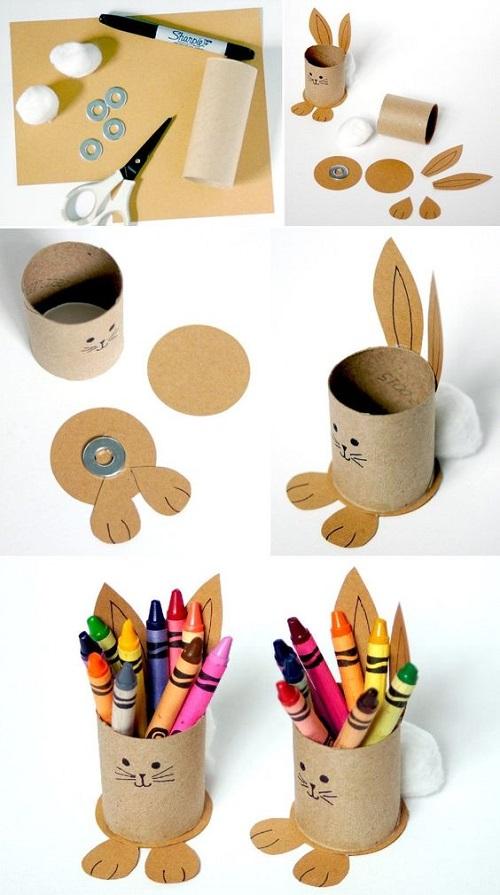 Kağıt Havlu Rulosu ile Tavşanlı Kalemlik Yapımı