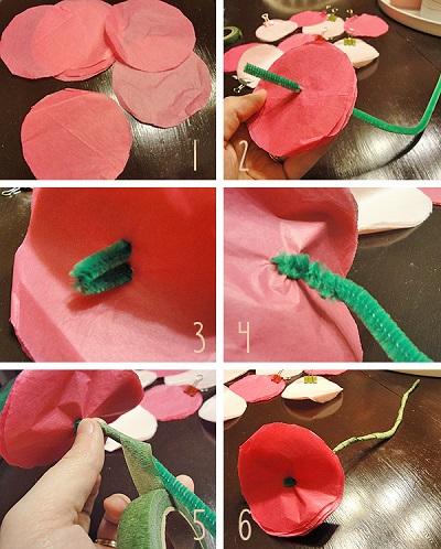 Krapon Kağıdından Çiçek Resimli Anlatım