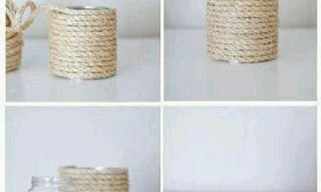 Halat İp ve Teneke Kutudan Vazo Yapımı