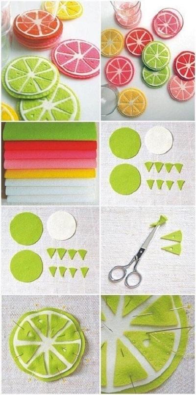Keçeden Limon Dilimi Bardak Altlığı Yapımı-1