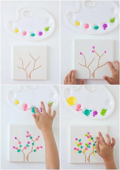 Parmak Baskısı ile Ağaç Yapımı Resimli Anlatım