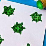 Şişe Mantarı Baskısı ile Kaplumbağa Yapımı