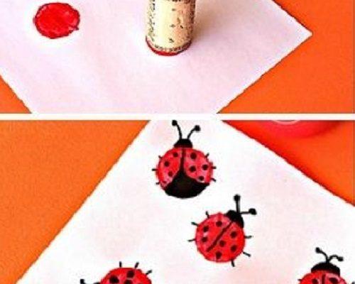 Şişe Mantarı Baskısı ile Uğur Böceği Yapımı