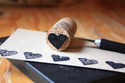Şişe Mantarı ile Kalpli Damga Yapımı-4