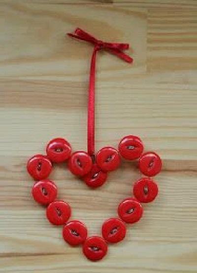 Düğmeden Kalpli Dekoratif Süs-1