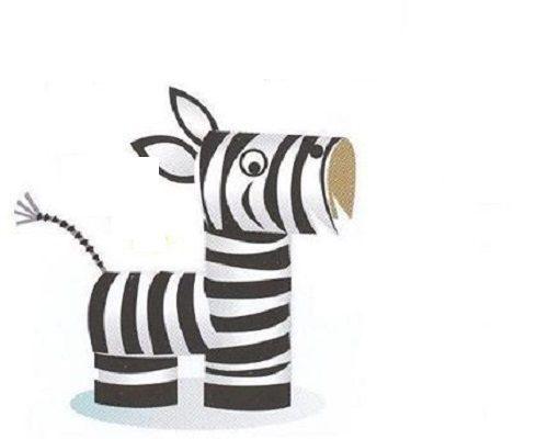 Kağıt Havlu Rulosundan Zebra Yapımı