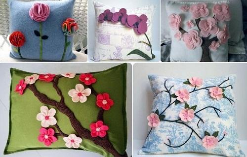 Keçe Çiçeklerle Yastık Süslemesi Yapımı-1
