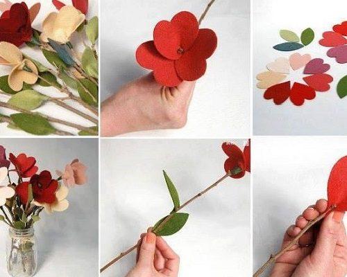 Keçeden Yapay Çiçek Yapımı