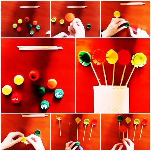 Pet Şişe Kapağı ile Çiçek Yapımı Resimli Anlatım