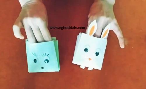 Kağıttan Tavşanlı El Kuklası