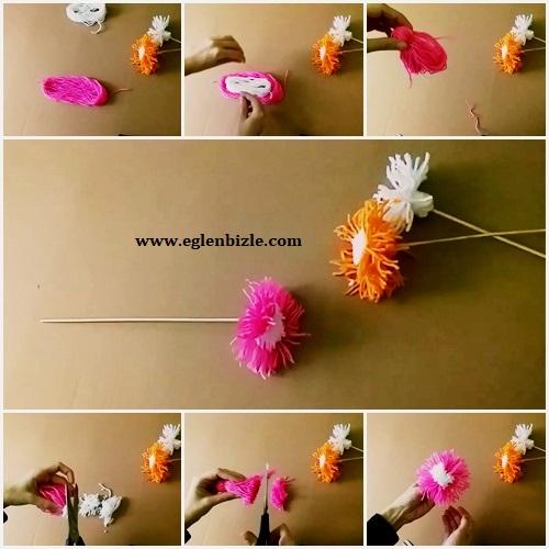 İpten Çiçek Yapımı Resimli Anlatım