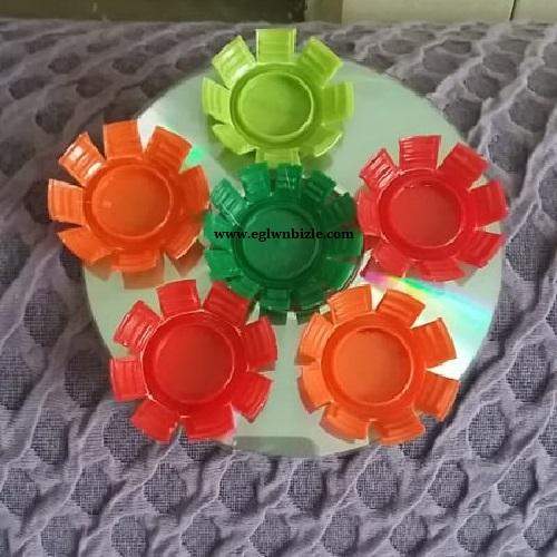 Cd ve Plastik Kapaklarla Dekoratif Süs Yapımı-1