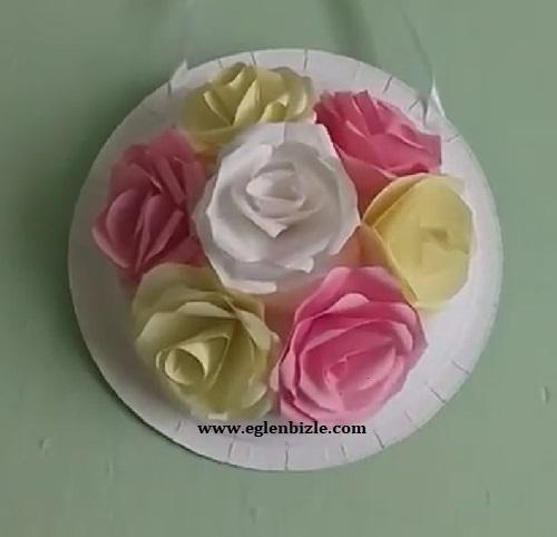 Kağıt Güllerden Duvar Süsü-1
