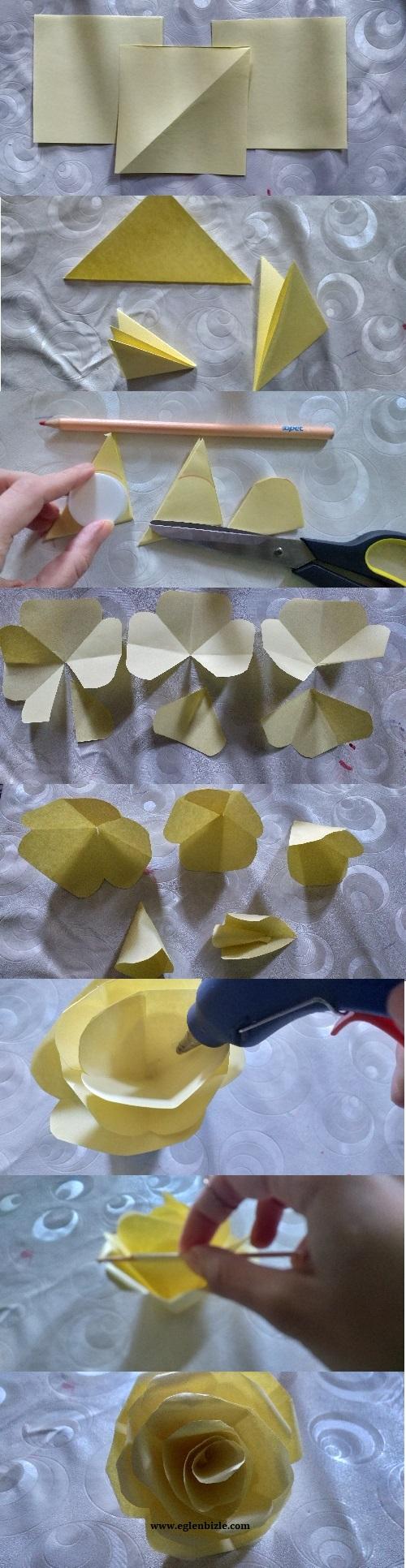 Kağıttan Gül Yapımı Resimli Anlatım-1