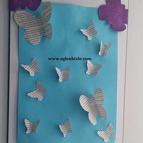 Gazete Kağıdından Kelebekli Pano
